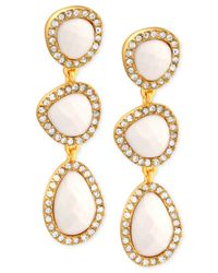 T Tahari | Metallic Gold-Tone Ivory Stone And Crystal Triple Drop Earrings | Lyst