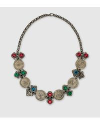 Gucci - Gray Necklace With Coins And Crystals - Lyst