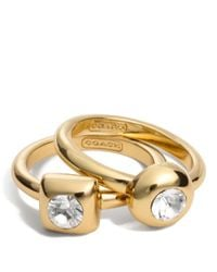 COACH | Metallic Stone Ring Set | Lyst