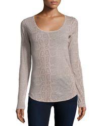 Neiman Marcus | Multicolor Cotton/cashmere Python-print Scoop-neck Top | Lyst
