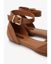 Forever 21 - Natural Pointed Ankle-strap Flats You've Been Added To The Waitlist - Lyst