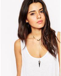 ASOS - Black Fine Bead & Bar Choker Lariat Necklace - Lyst