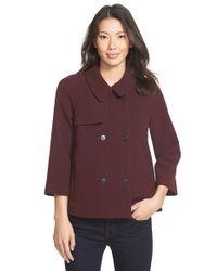 Halogen - Purple Double Breasted Raglan Sleeve Jacket - Lyst