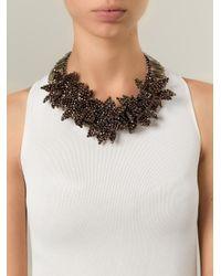 Night Market | Brown 'deep Flower' Bib Necklace | Lyst