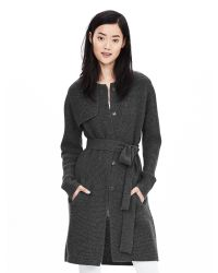 Banana Republic | Gray Belted Sweater Coat | Lyst
