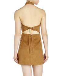 Re:named | Natural Faux Suede Halter Dress | Lyst