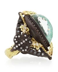 Armenta | Metallic Old World Pear Green Turquoise Doublet Ring | Lyst