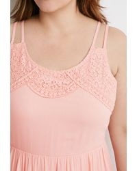Forever 21 - Pink Plus Size Crochet-trimmed Babydoll Dress - Lyst