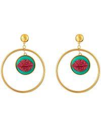 Betsey Johnson | Ocean Drive Pink Lips Orbital Earrings | Lyst