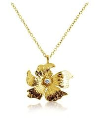 Belcho | Metallic Textured Petal Flower With Cz Center Pendant Necklace | Lyst