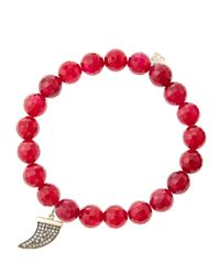Sydney Evan - 8Mm Faceted Red Agate Beaded Bracelet With 14K Gold With Diamond Medium Horn Charm (Made To Order) - Lyst