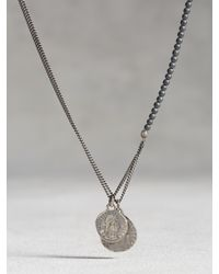 John Varvatos | Metallic Hematite Beaded Necklace With Coins for Men | Lyst