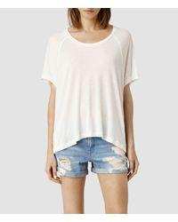 AllSaints | White Tri Top | Lyst