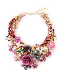 Night Market - Multicolor Floral Bib Necklace - Lyst