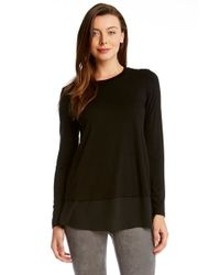Karen Kane | Black Sheer Hem Top | Lyst