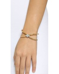 Giles & Brother | Metallic Skinny X Knot Pave Cuff Bracelet - Gold | Lyst
