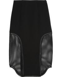 Jonathan Simkhai - Black Leather-Trimmed Stretch-Jersey And Mesh Skirt - Lyst