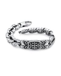 Palmbeach Jewelry - Metallic Men's Curb-link Bracelet In Stainless Steel With Antique Finish for Men - Lyst