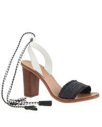 J.Crew - Black Raffia Ankle-tie High-heel Sandals - Lyst