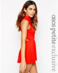 ASOS | Red Jersey Playsuit With High Neck And Cut Out Back | Lyst