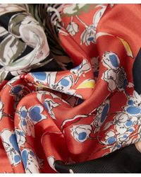 Valentino - Red Floral Printed Silk Square Scarf - Lyst