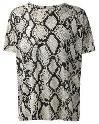 Saint Laurent - Gray Python-Print T-Shirt for Men - Lyst