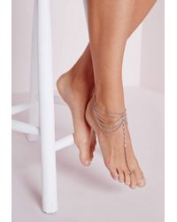 Missguided - Metallic Bead Detail Layered Foot Chain Silver - Lyst