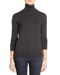 Lauren by Ralph Lauren | Gray Silk & Cotton Turtleneck Sweater | Lyst