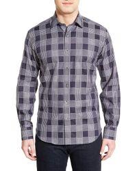 Bugatchi - Blue Shaped Fit Plaid Sport Shirt for Men - Lyst