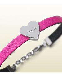 Gucci | Kid's Bracelet In Pink Leather With Sterling Silver Heart | Lyst