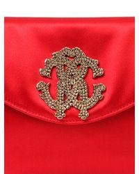 Roberto Cavalli | Red Silk Satin Clutch With Logo | Lyst