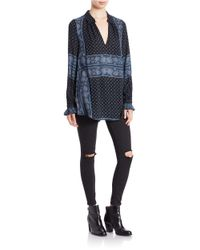 Free People | Black Changing Times Printed Tunic - Snow Combo | Lyst