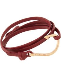 Miansai | Red Hook On Leather Wrap Bracelet for Men | Lyst