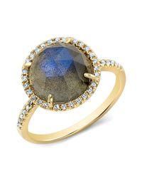 Anne Sisteron | Metallic 14kt Yellow Gold Labradorite Diamond Cocktail Ring | Lyst