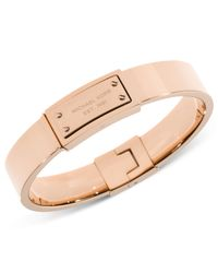 Michael Kors | Pink Logo Plaque Bangle Bracelet | Lyst