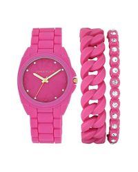 Anne Klein - Pink Silicone Bracelet Watch Set - Lyst