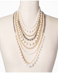 Ann Taylor - Metallic Pearlized Crystal Statement Necklace - Lyst