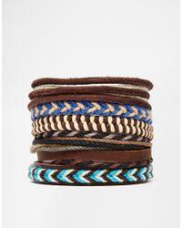 ASOS | Multicolor Leather Bracelet Pack In Brown And Blue for Men | Lyst