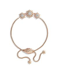 David Yurman | Pink Starburst Three-station Bracelet With Diamonds In Rose Gold | Lyst