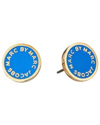 Marc By Marc Jacobs | Metallic Classic Marc Enamel Logo Disc Studs Earrings | Lyst
