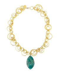 Devon Leigh - Green Gold Layered Circles Chrysocolla Pendant Necklace - Lyst
