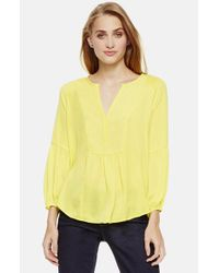 Two By Vince Camuto | Yellow Split Neck Charmeuse Blouse | Lyst