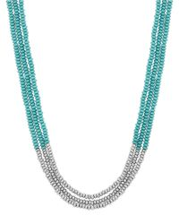 Lucky Brand | Metallic Turquoise Beaded Necklace | Lyst
