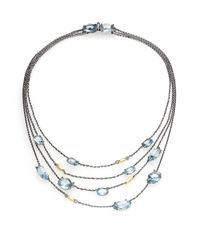 Alexis Bittar Fine | Blueberry Marquis Blue Quartz, Blue Topaz, 18k Yellow Gold & Sterling Silver Draped Multi-row Statio | Lyst