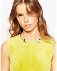 ASOS | Metallic Color Block Stone Torque Necklace | Lyst