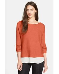Eileen Fisher | Orange Fine-Knit Merino Boxy Top | Lyst