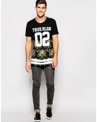 True Religion - Black T-shirt Varsity Brocade Logo Print for Men - Lyst