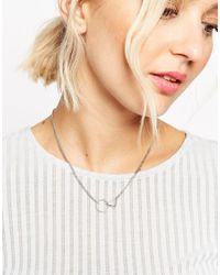 ASOS | Metallic Interlocking Shapes Necklace | Lyst