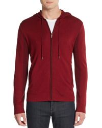 Vince Camuto | Red Zip-front Knit Hoodie for Men | Lyst