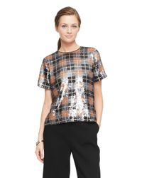 kate spade new york | Multicolor Sequin Plaid Top | Lyst